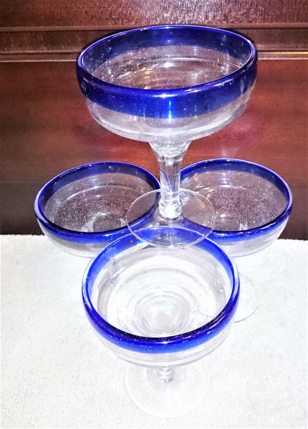 Vintage Blue Rimmed Mexican Margarita Glasses, Cobalt Blue Margarita Glasses, Hand Blown Bubble Blue Rim Margarita Glasses - Set of 4 by Penelainbricandbrac on Etsy