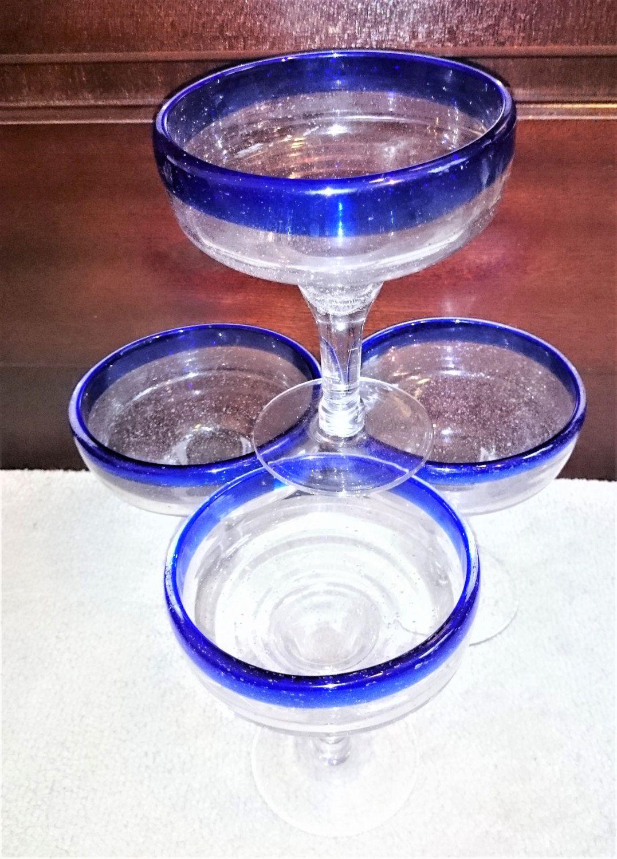 Vintage Blue Rimmed Mexican Margarita Glasses, Cobalt Blue Margarita Glasses, Hand Blown Bubble Blue Rim Margarita Glasses - Set of 4 by Penelainbricandbrac on Etsy