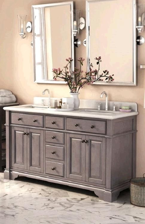 Casanova 60 Antique Gray Double Sink Vanity By Lanza Double