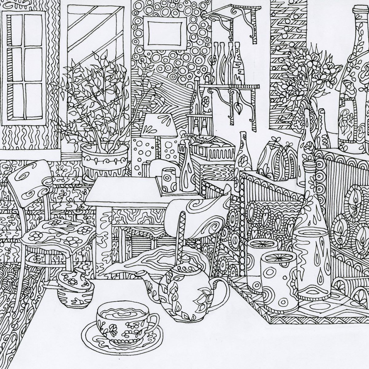 Download black and white illustration to colour in - cafe interior theme