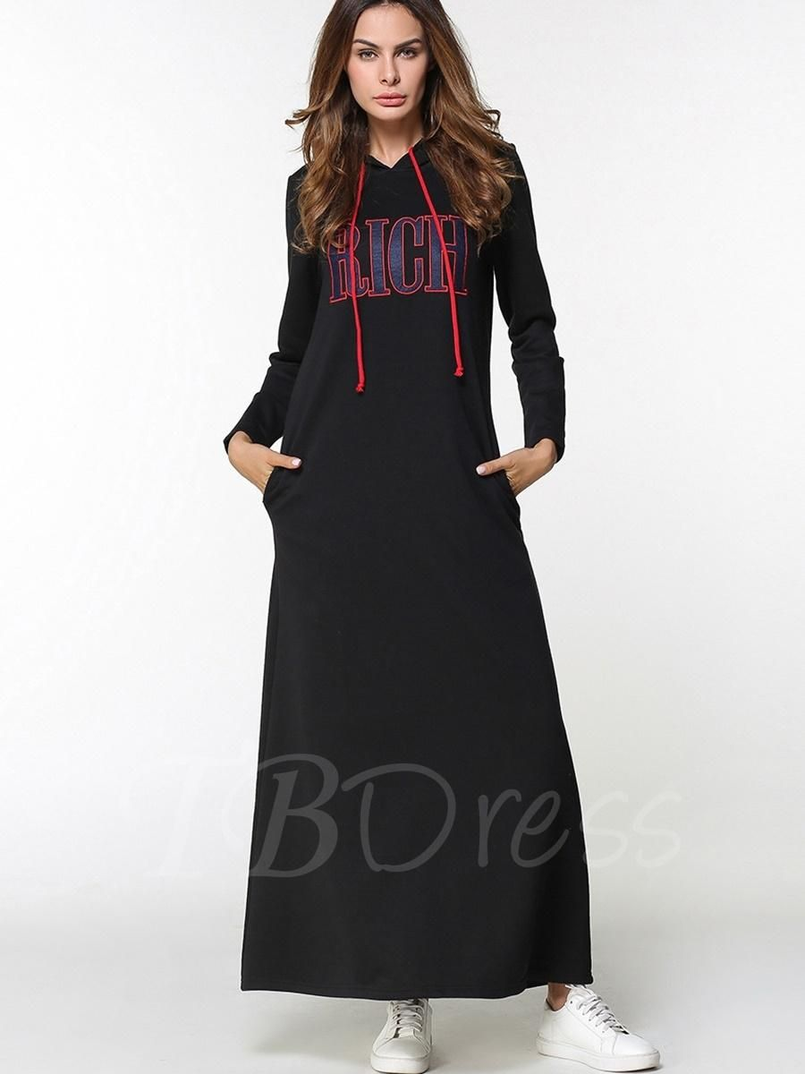 Tbdress tbdress black hooded letters printed womens maxi dress