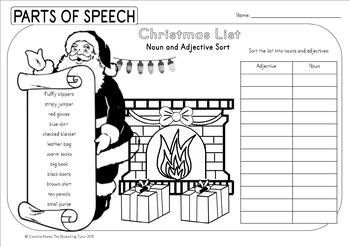 {Christmas parts of speech} {Christmas grammar worksheets