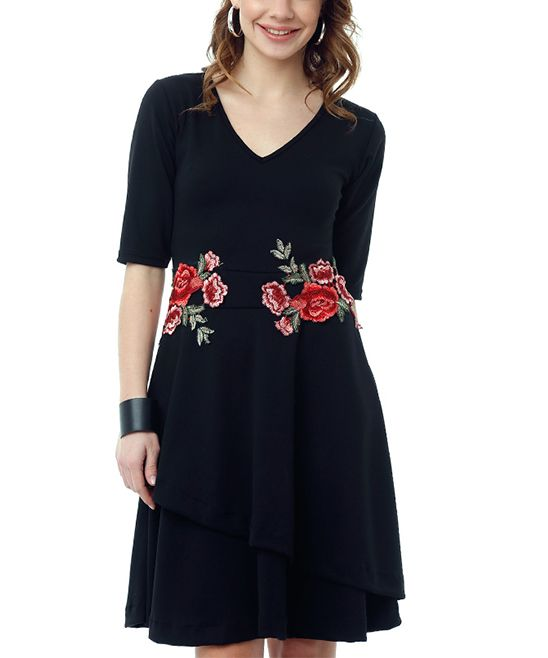 Vivid floral embroidery adorns the waist of this classic a-line dress with a captivating dash of artful appeal. Size note: This item is from a European brand and runs small. Ordering one size up is recommended.48.43'' long from high point of shoulder to hem95% polyester / 5% elastaneHand wash; hang dryMade in TurkeyShipping note: This item is shipping internationally. Allow extra time for its journey to you.