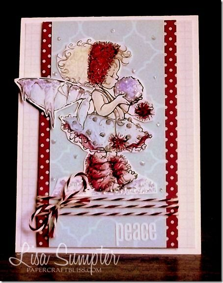 Christmas card made with MME patterned papers and a beautiful digi stamp by Mo Manning