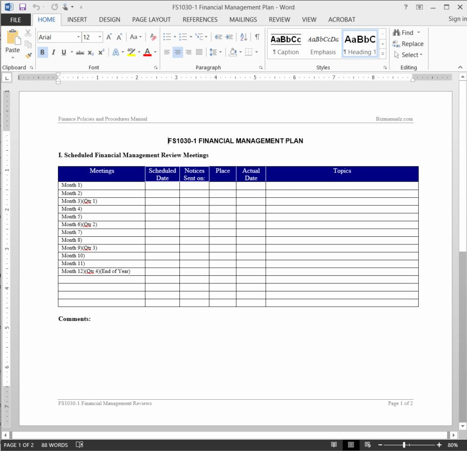 Financial Plan Template Word Beautiful Financial