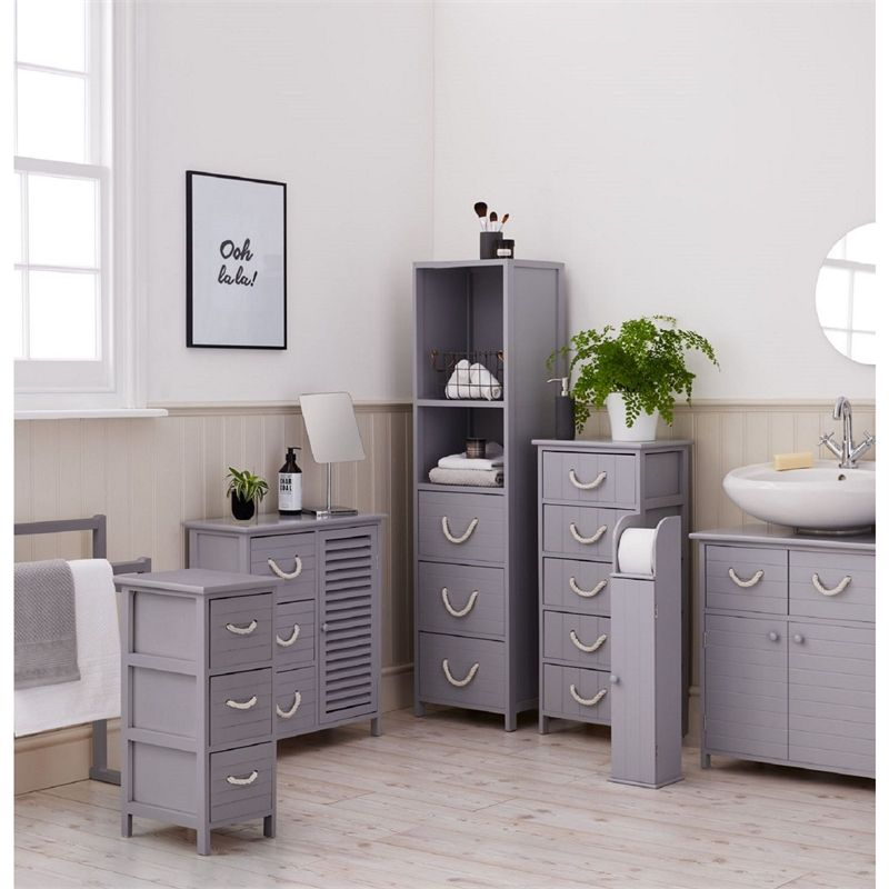 Estilo Nautical Grey Nautical Tallboy Bathroom Storage Unit Bathroom Drawer Storage Bathroom Storage Storage Drawers