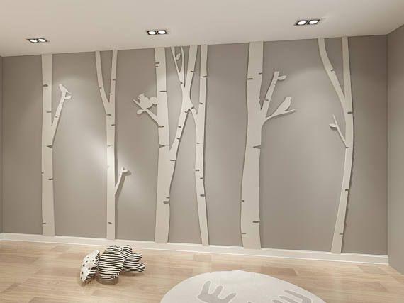 Bouleau, pièces de bouleau, 3D, bouleau décoratif, décoration en bois de bouleau, branche d'arbre mariage, décoration d'intérieur, art mural, décoration murale, décoration murale – SKU: BTR3D   – wohnideen