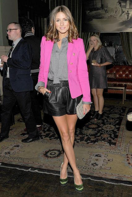 Black Leather Shorts, Pink Blazer, and Grey Top