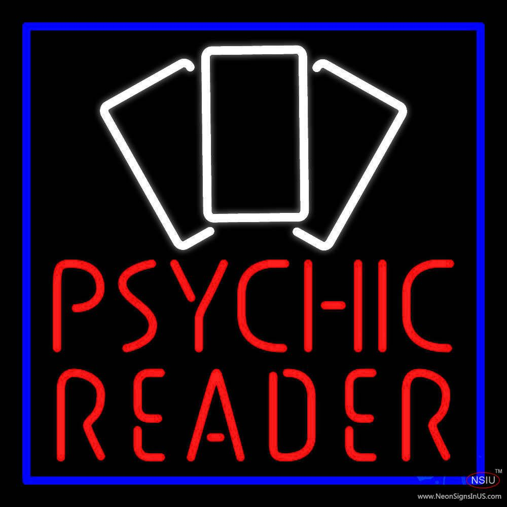 Red Psychic Reader With Cards Real Neon Glass Tube Neon