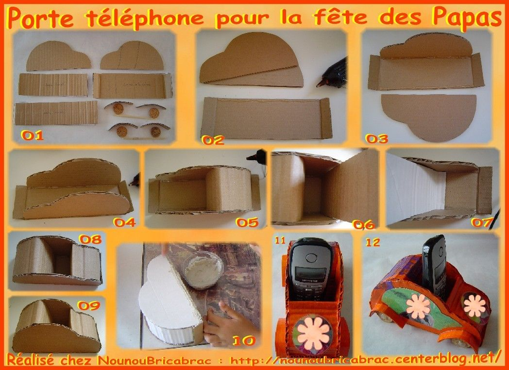 porte t l phone 1 pour la f te des papas decoupage. Black Bedroom Furniture Sets. Home Design Ideas