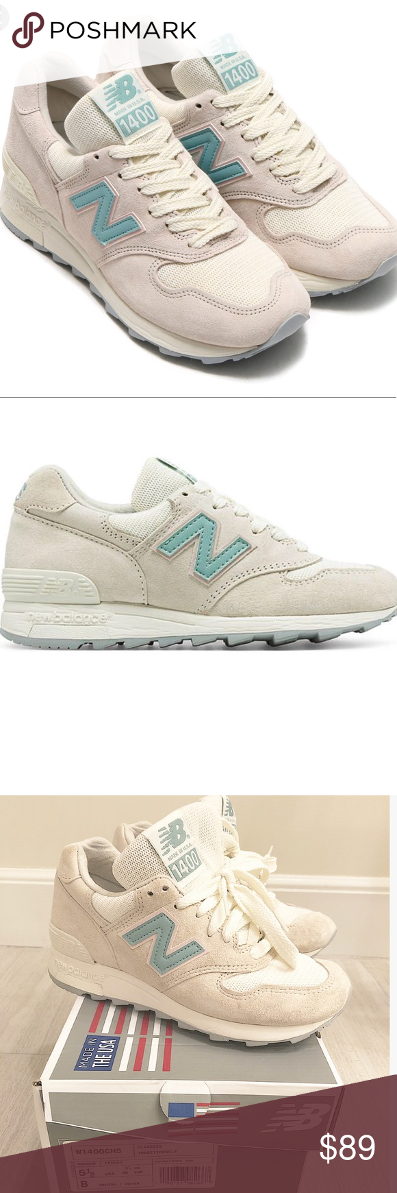b77bf590133a NEW BALANCE WOMEN W1400CHS - GRAY   CREAM   BLUE) ONLY worn once and a