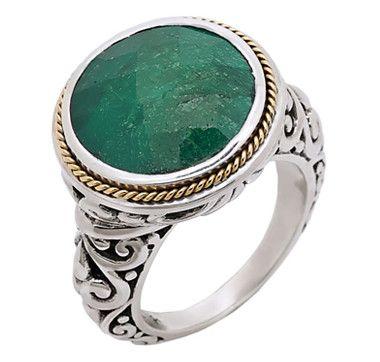 Samuel B. Sterling Silver  18K Gold Ring - EMERALD