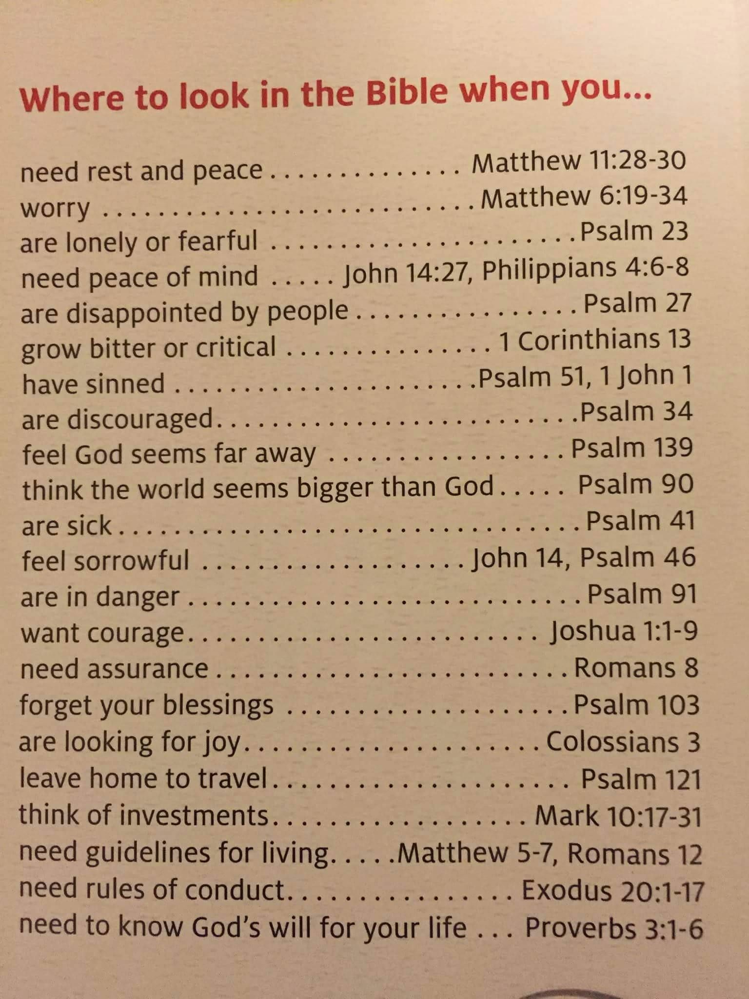 Where To Look In Bible When You Feel