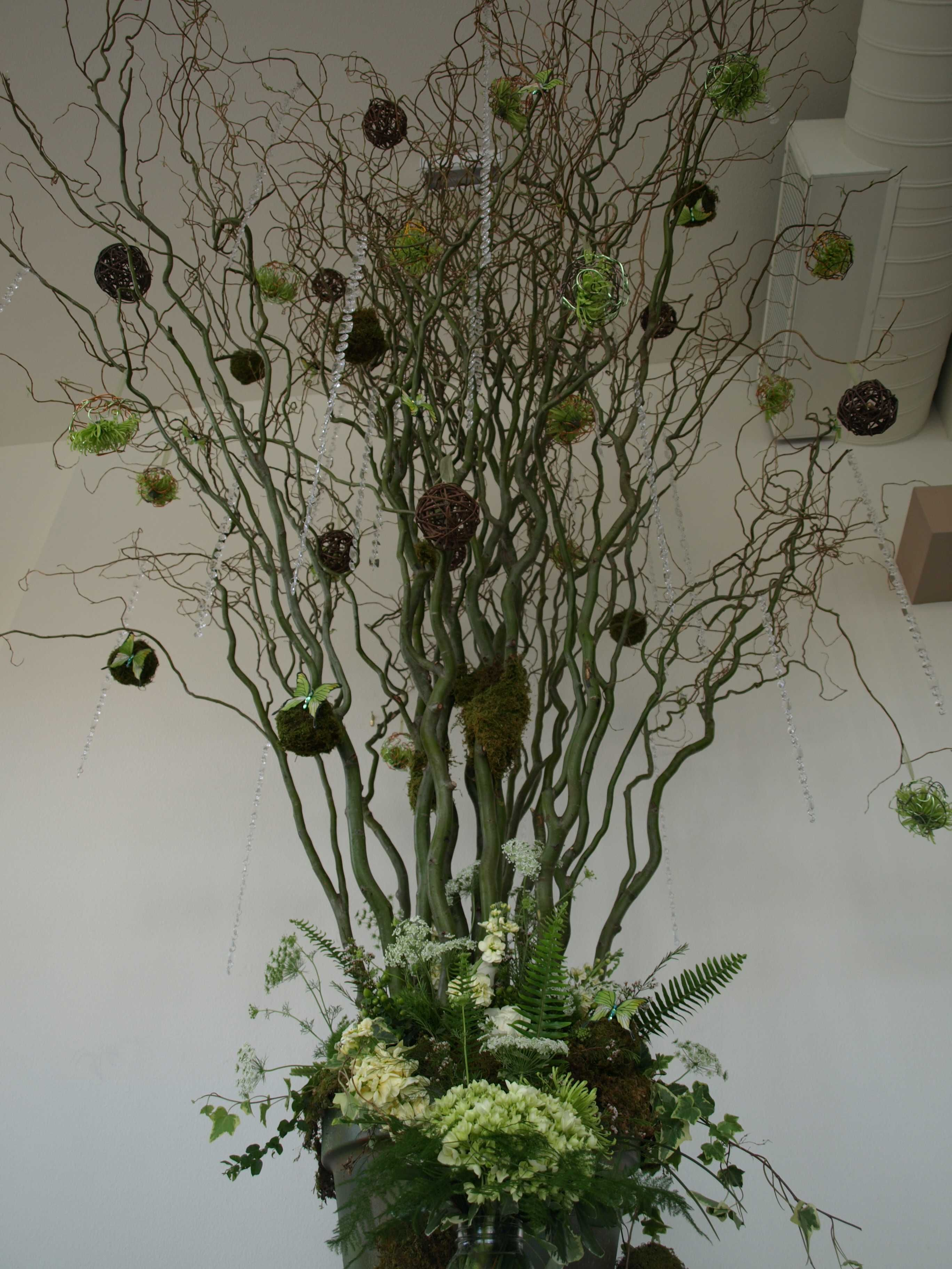 Rustic Curly Willow Tree Flowers Bouquet May Flowers Wedding Floral Centerpieces