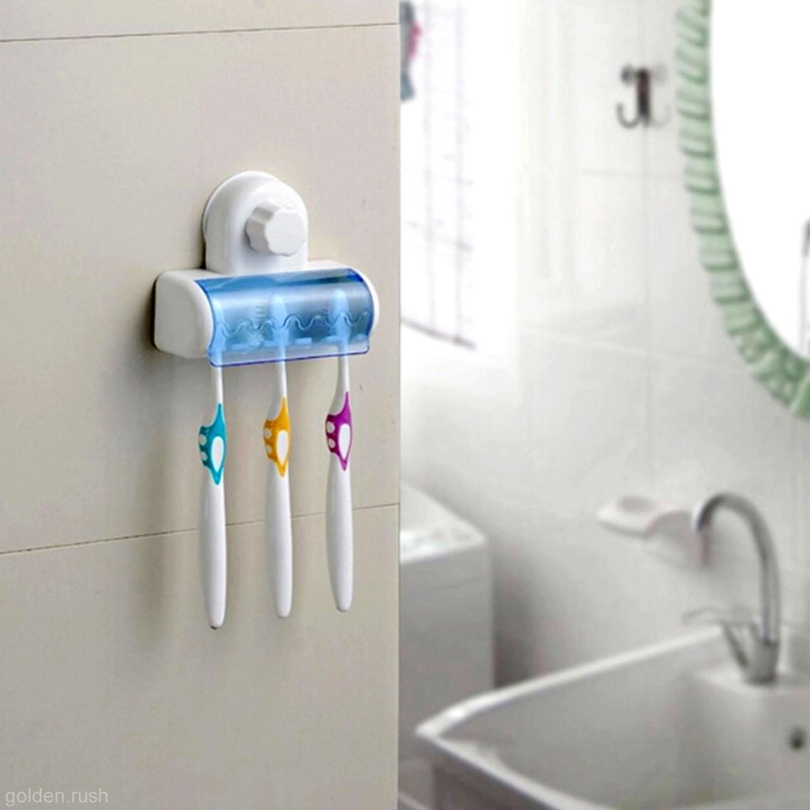1X Family Home Bath Bathroom Toothbrush Wall Mount Holder Hanging ...