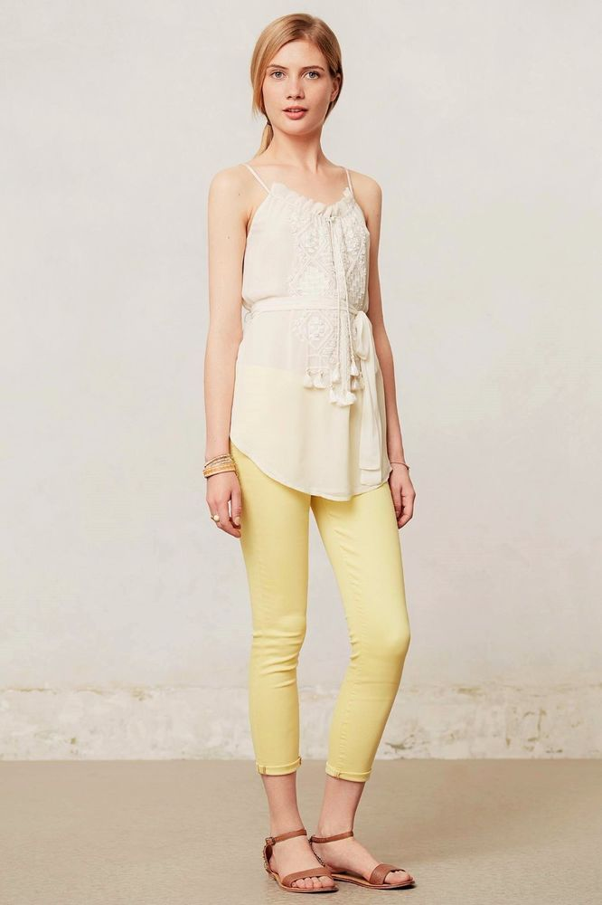 4671d5c820c3e8 Anthropologie MOTHER THE LOOKER CROP JEANS $160 Pop! Yellow Cropped Skinny  24 #MOTHER #CapriCropped