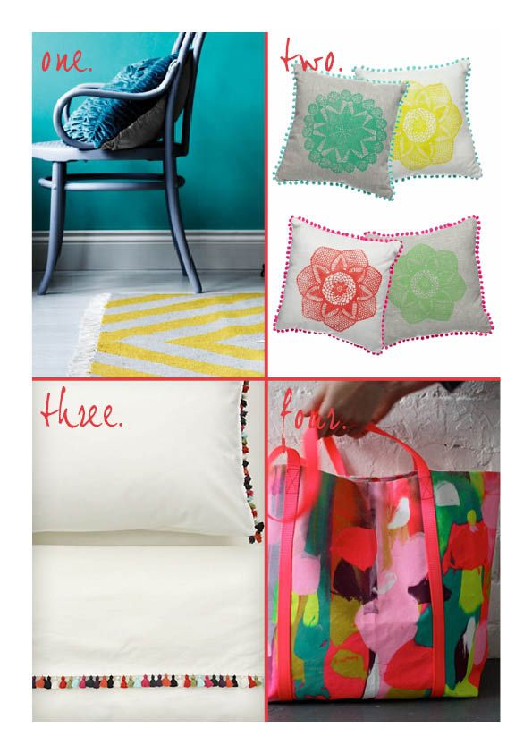 total blur.: Retail Therapy. aura rug, crate expectations cushions, anthropologie pom pom sheets, harvest paint bag.