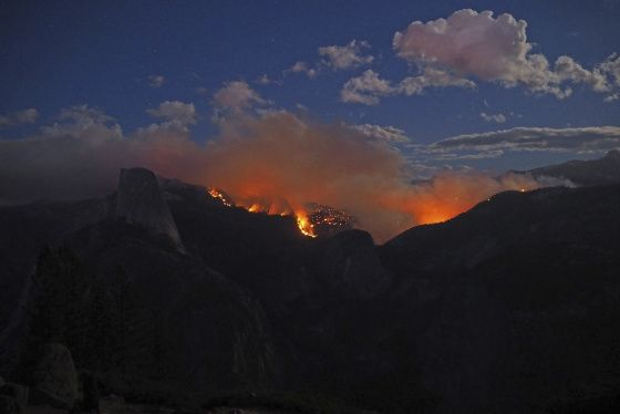 The Meadow Fire burns near Half Dome in Yosemite National Park, Calif., in this handout photo released to Reuters on Sept. 8, 2014.