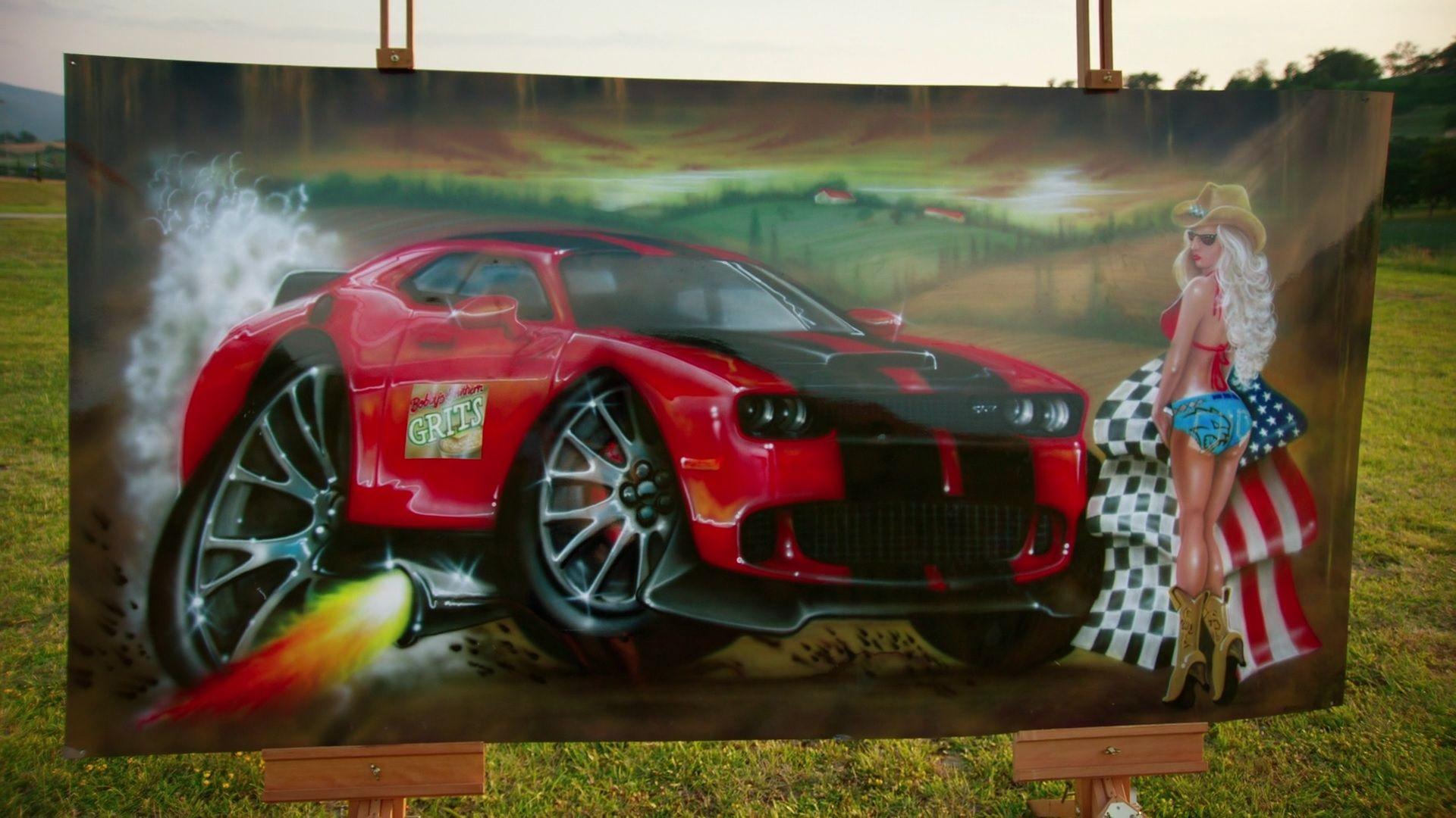 Dodge Hellcat painting.