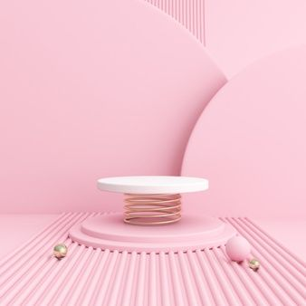 Mock Up Of Geometry Podium On Pastel Color Background