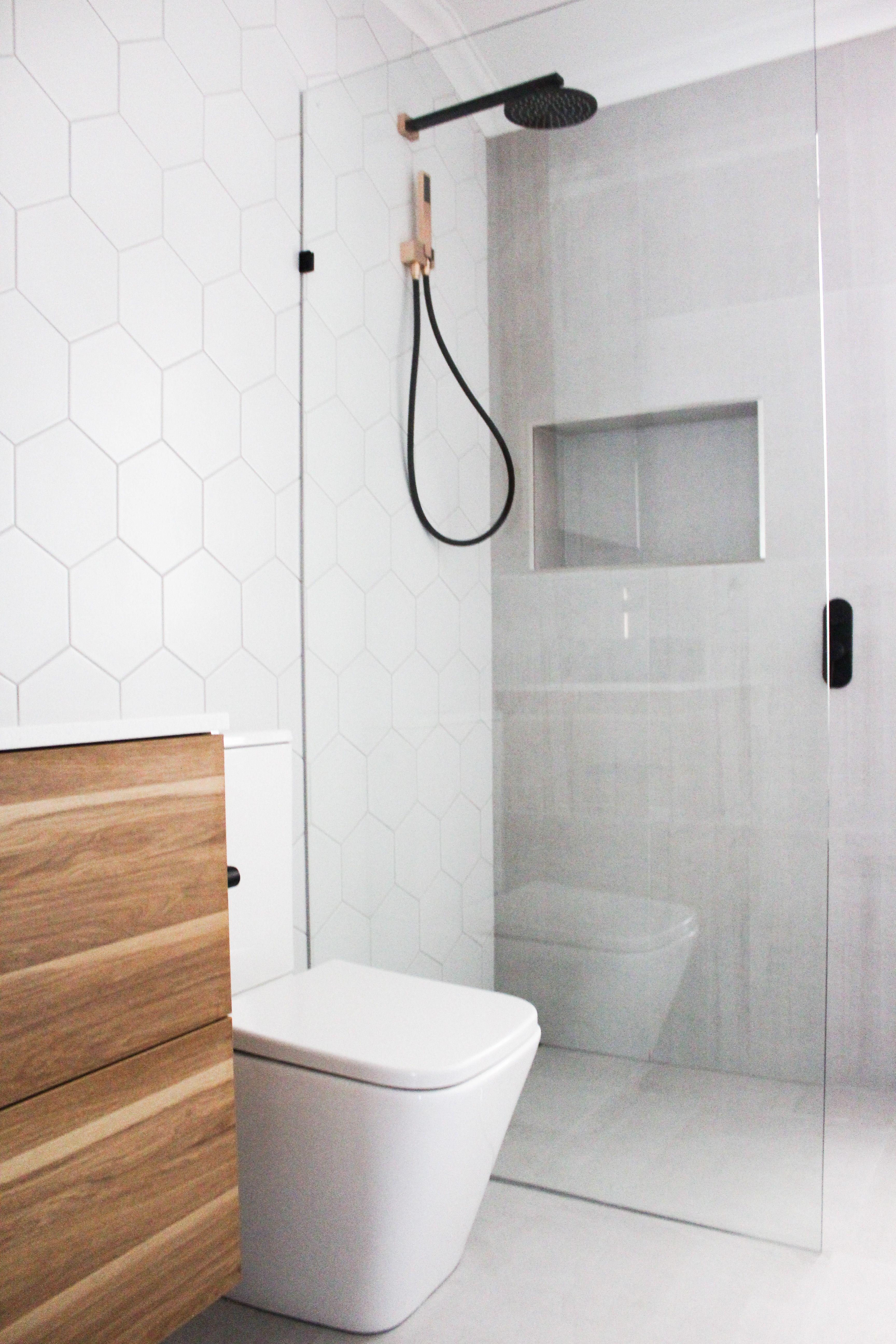 Tiles, Hexagon Tiling, Shower Recess, Dark Wood WallHung