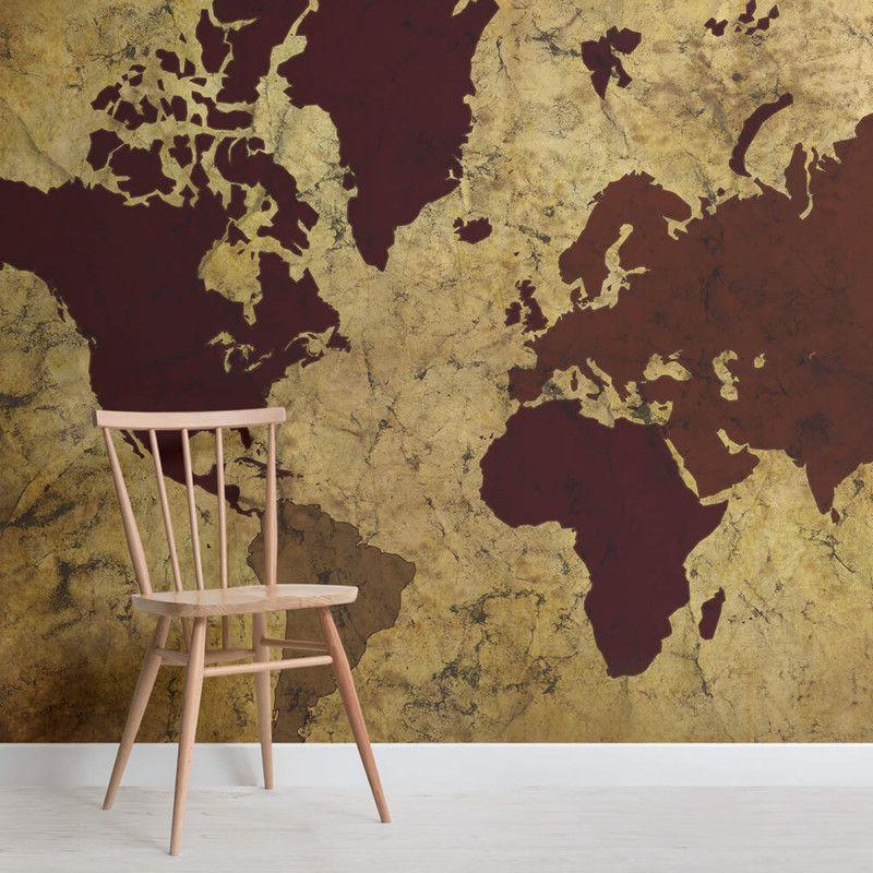 Decorazione murale con mappa del mondo in stile antico