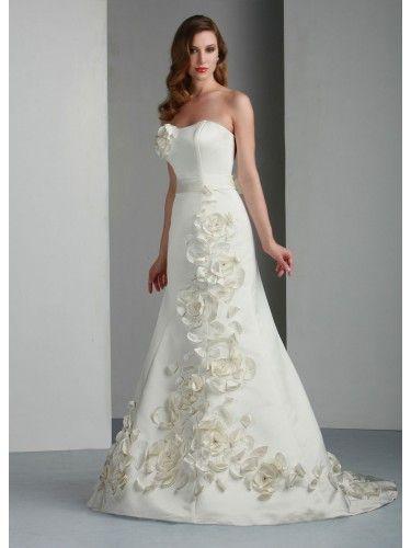 Satin A-Line Strapless Bateau Neckline Wedding Dress