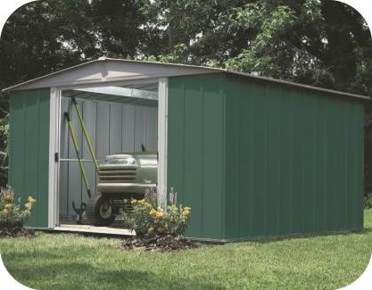 Captivating Arrow 10x10 Green Dresden Metal Storage Shed Kit