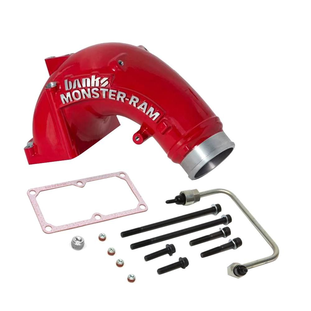 Banks Power Monster Ram Intake System With Fuel Line For 2007 5 17 Dodge 6 7 L Cummins 2500 And 3500 Models 42788 Pc The Home Depot Cummins Performance Air Filters Dodge