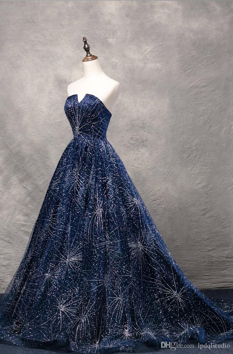 Stunning Navy Blue Ball Gown Prom Dresses COurt train Starpless ...