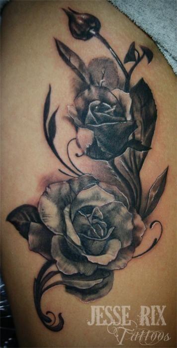 Rose Vine Tattoo Designs Secret Lake Tattoos Tattoos Jesse Rix Black And Grey Rose Tattoo With Images Rose Vine Tattoos Vine Tattoos Rose Tattoos