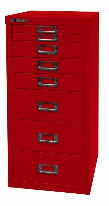 Bisley Red Filing Cabinet: Eight Drawer Unit For Filing Papers With Chrome  Plated Label Holders