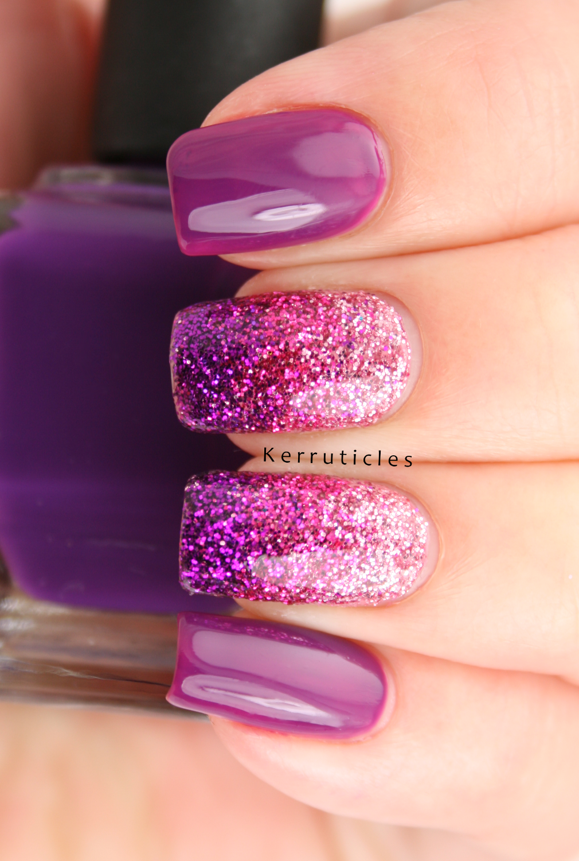 Three Colour Loose Glitter Gradient | Kerruticles | Beauty // Nail ...