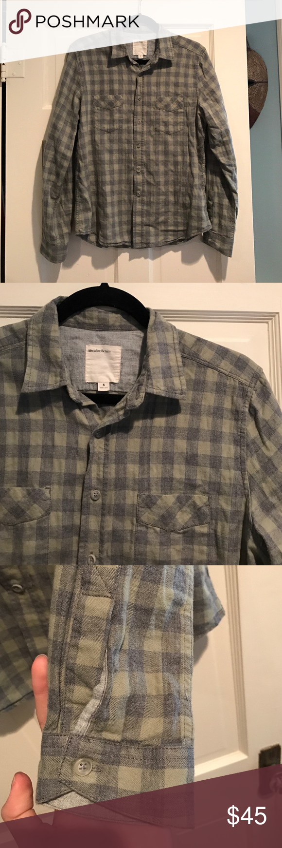9f049fe772d Fits like a men s small or a woman s medium. Green and grey check. No  flaws. Life After Denim Shirts Casual Button Down Shirts