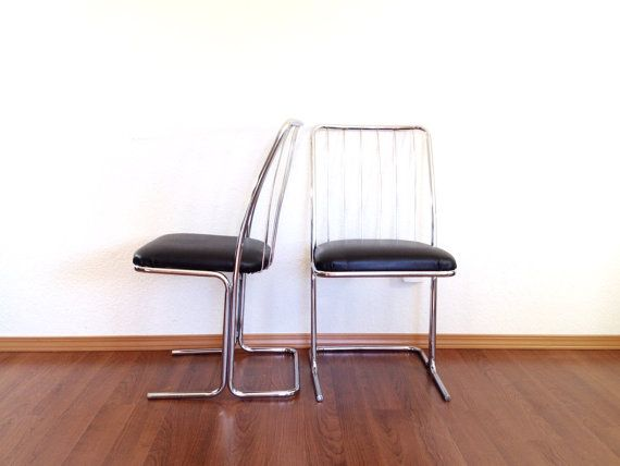 Pair Of Mid Century Modern Chrome Cantilever Chairs Vintage Dining Chair Retro Furniture Vintage Dining Chairs Furniture Retro Furniture