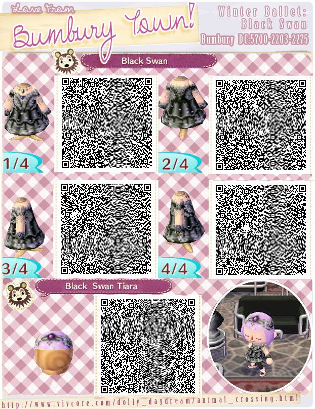 Winter Ballet Black Swan And Tiara Qr Codes Animal Crossing Qr