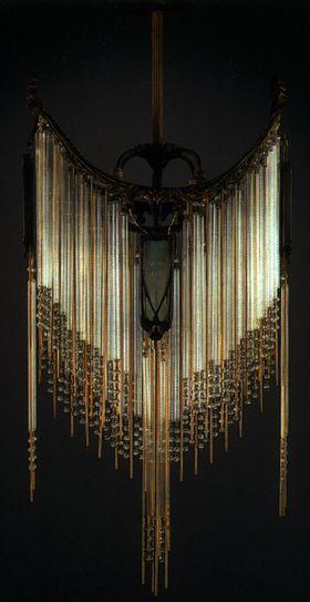 Hector Guimard Chandelier C 1910 Bronze Mounts With Glass Panels