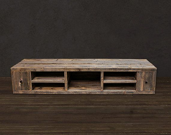 Good Reclaimed Wood Media Console / TV Stand On Etsy, $1,445.00 Media Console.  Add Legs