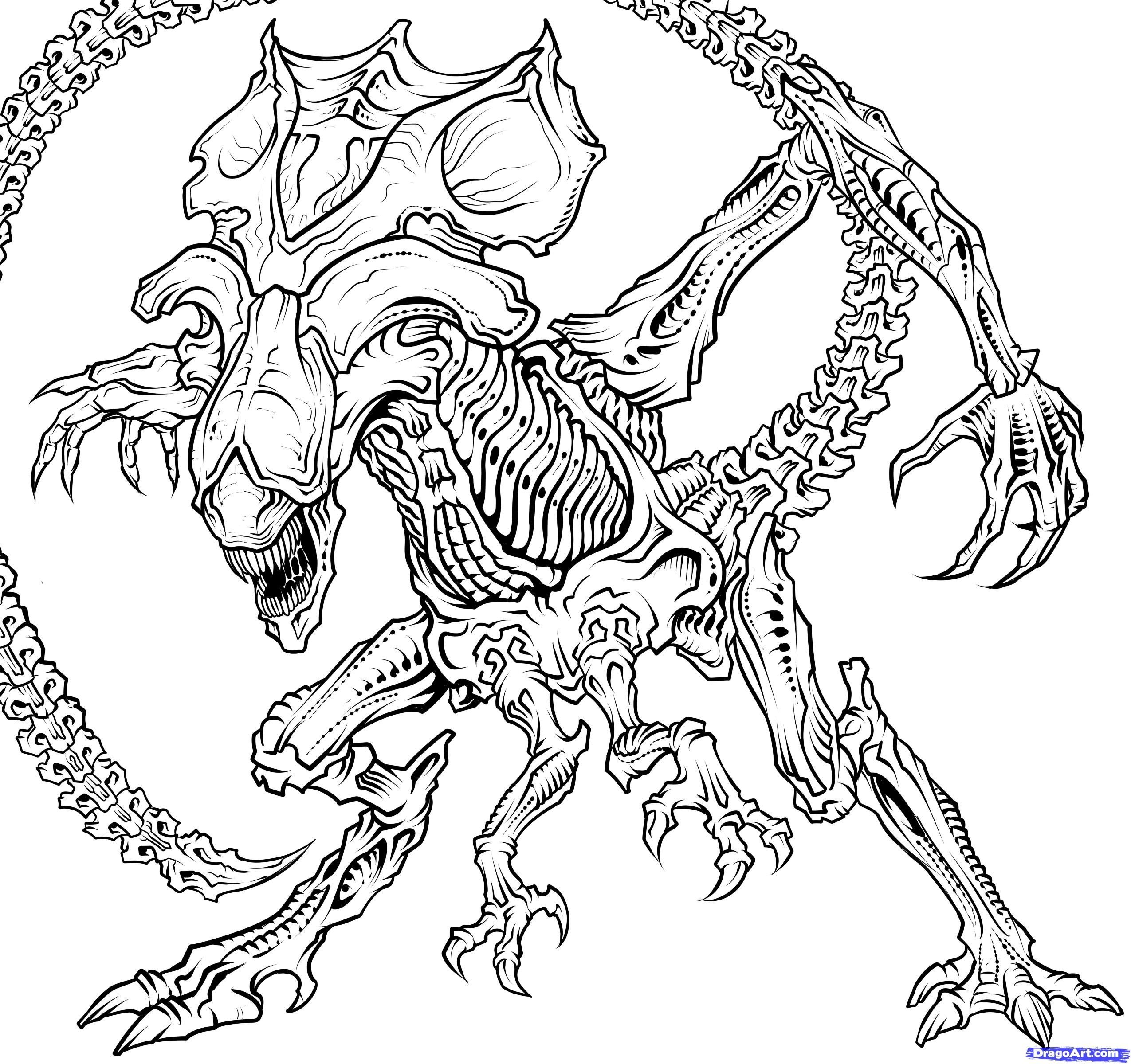 Image result for xenomorph coloring pages
