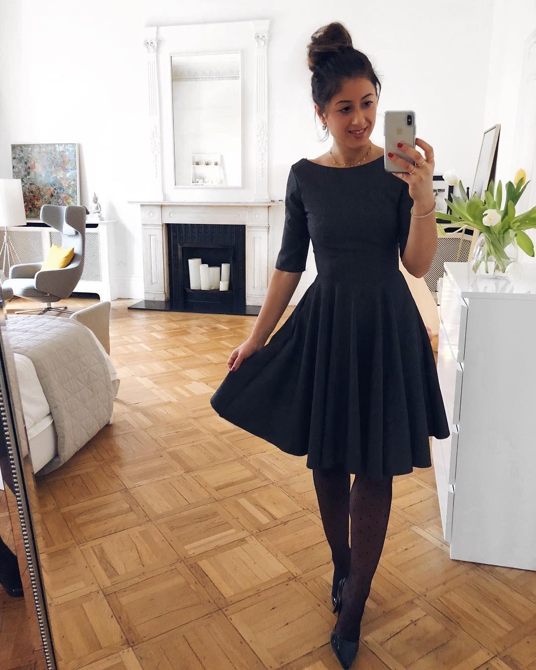 Mimi Ikonn Dark Grey Midi Dress Polka Dot Tights Black Melissa Heels Messy Bun Ootd Style Fashionblog Casual Skirt Outfits Everyday Dresses Fashion [ 1350 x 1080 Pixel ]