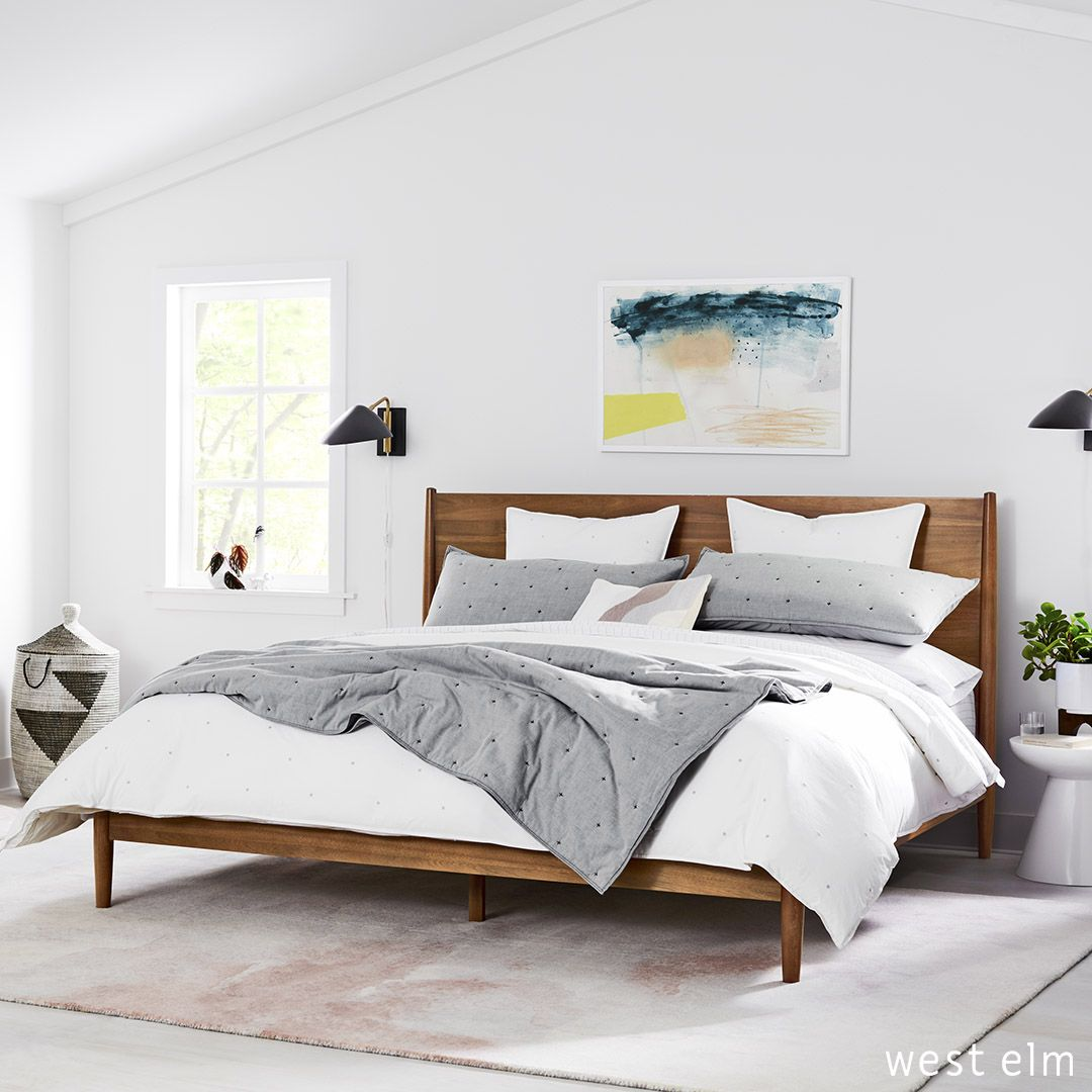 Mid Century Bedroom With King Bed Industrial Wall Sconces White Walls And Organic Bedding Featured Prod Bedroom Wall Wall Decor Bedroom Sconces Living Room
