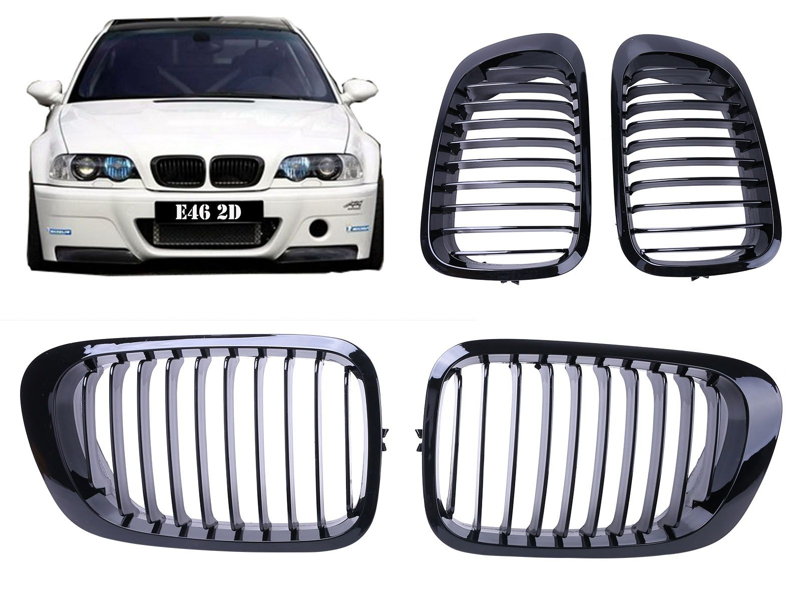 2x Gloss Black Front Kidney Grills Grille For BMW E46