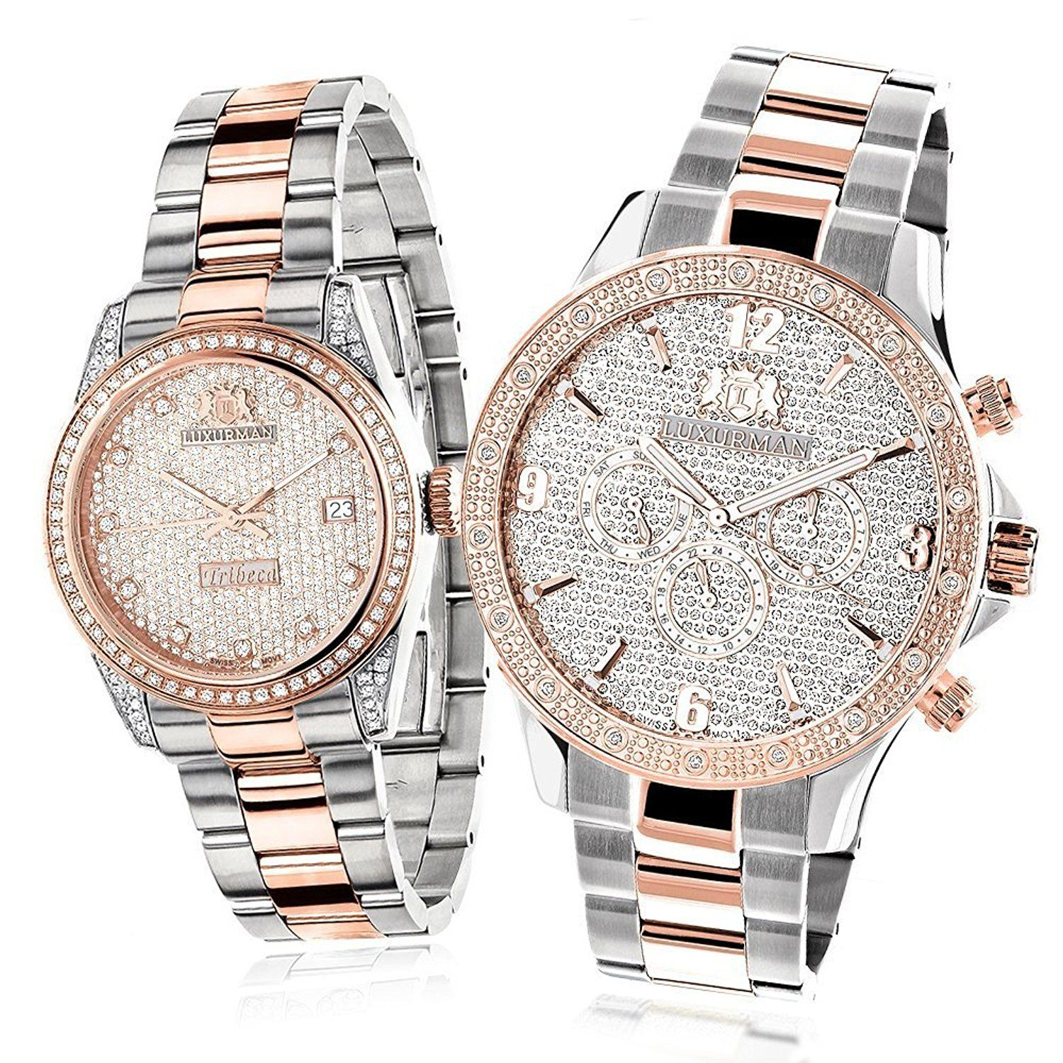 bc3f7fa24ddb Matching His and Hers Watches  Luxurman 18k White and Rose Gold Plated  Diamond Watch Set Swiss Mvt 1.7ct -- Tried it! Love it! Click the image.