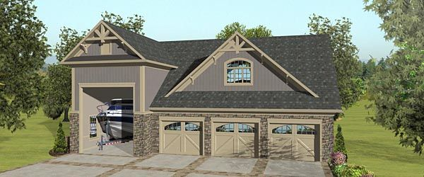 4 Car Garage Apartment Plan Number 74842 with 2 Bed, 1 Bath, RV Storage #garageplans