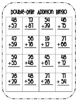 double digit addition bingo with regrouping math. Black Bedroom Furniture Sets. Home Design Ideas