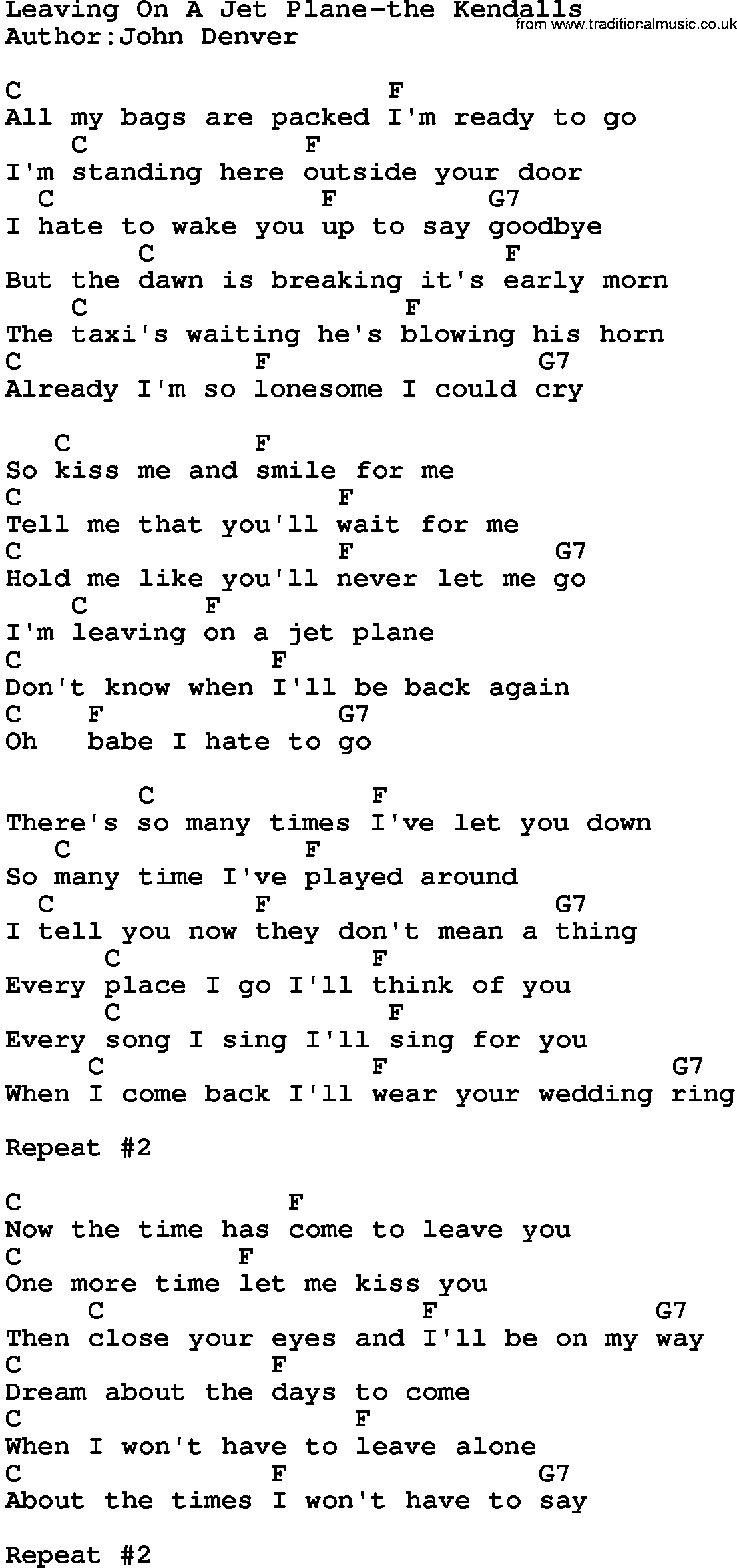Country Music Leaving A Jet Plane The Kendalls lyrics and chords