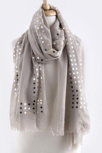 Light gray sequin scarf