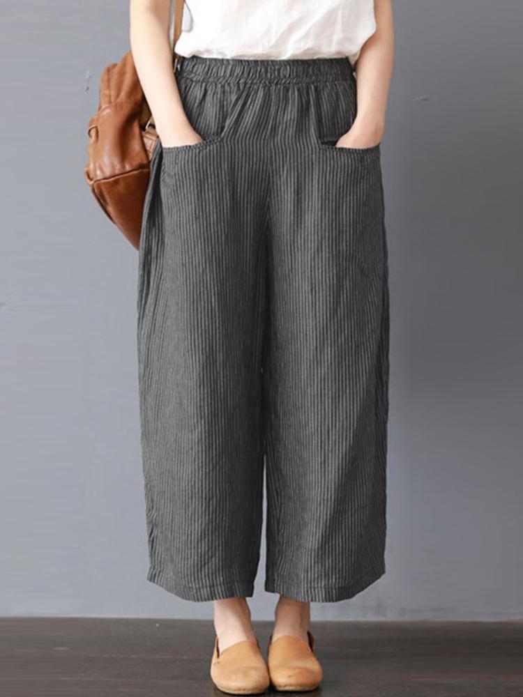 Photo of Only US $ 21.99 shop women stripe elastic waist wide leg pants at Banggood.com. Bu …, #Banggo …