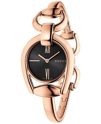 Shop Gucci Women S Swiss Horsebit Rose Gold Tone Pvd