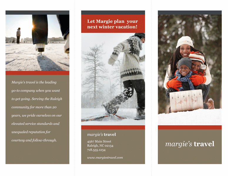 tri fold travel brochure red and gray design templates office